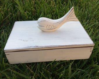 Whale Fish Beach Ring Bearer Box Gift Box Jewelry Box Off White Small