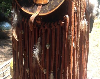 showdiva designs Special Order Upscaled Louis Vuitton Leather Bag Purse Beaded LoNg FriNgE