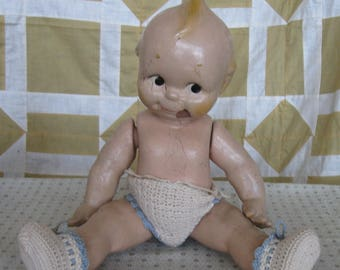 Antique Vintage Kewpie Jointed Baby Doll Composition
