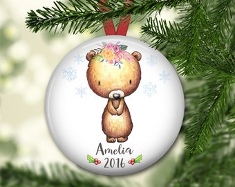 personalized Christmas ornaments for kids - baby's first christmas ornament - baby bear christmas ornament - ORN-PERS-4F