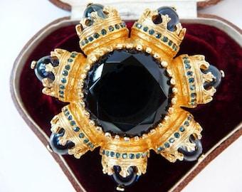 Benedikt NY ornate baroque brooch pin pendant   Renaissance Revival Byzantine   designer signed vintage rare seven continents