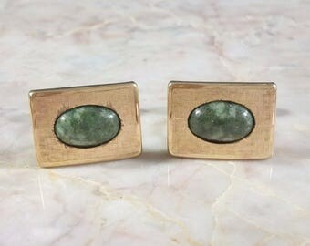 "Accessories Men's Cufflinks Krementz Gold and Green Stone Rectangular Cufflinks Oval Stone 3/4"" x 1/2"" 1.9cm x 1.3cm Very Nice Condition"