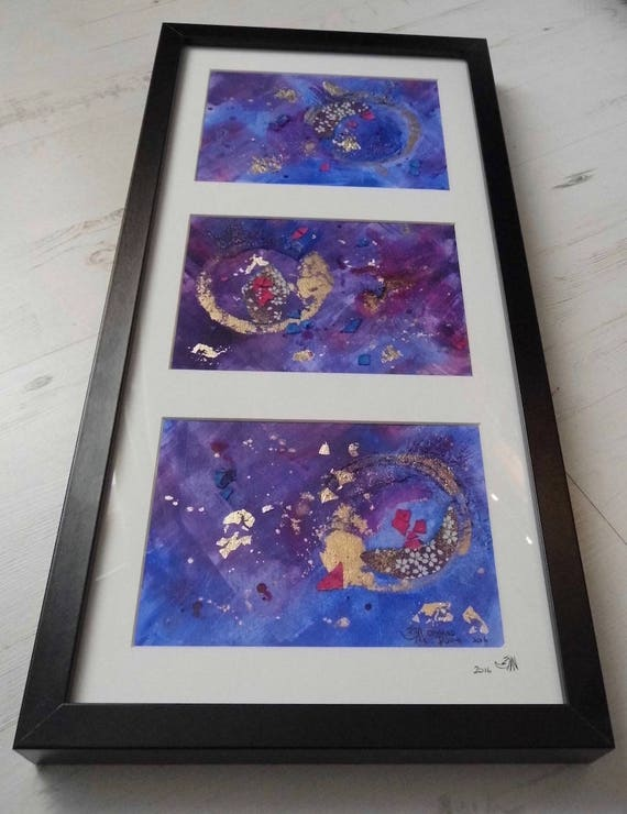 Framed Purple & Blue Abstract