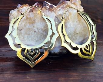 Brass Earrings - Lotus Hoops