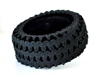 Vintage 50s Black Velvet Pillbox Hat