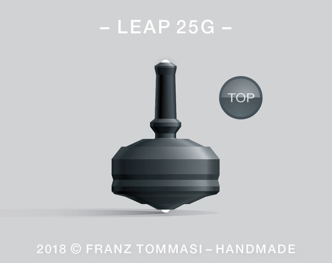 Leap 25G (Black) – Spin top with dual ceramic tip and rubber grip