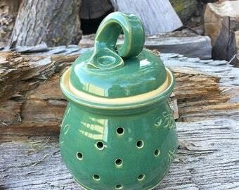 Summer Vacation Sale Locust Leaf Garlic Jar in Leaf Green Handmade Pottery by Daisy Friesen