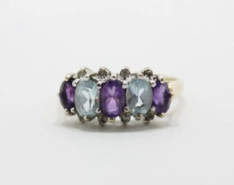 aquamarine ring - vintage estate 10K gold diamond aquamarine and amethyst ring - vintage ring