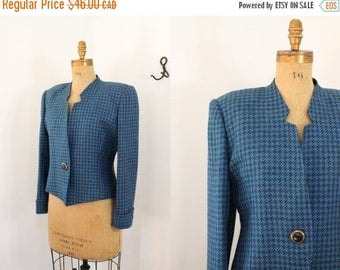 houndstooth blazer - 80s jacket - feminist jacket - vintage wool jacket - 80s houndstooth jacket - blazer - 80s clothing - medium large
