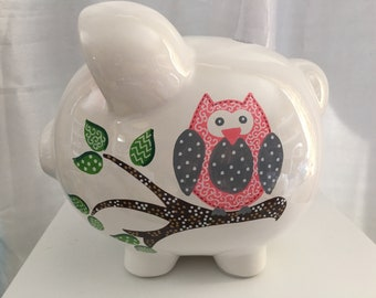 Personalized Large Owl Piggy  Bank pink grey owl Nursery decor ,Flower girl gift ,