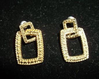Monet Earrings - Gold Tone - Pierced - Interlocking Rectangles