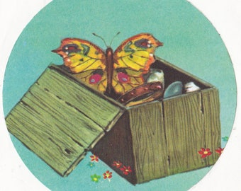 Whimsical Jumbo Butterfly Sticker Scrapbooking Kids Crafts Insect in a Box Vintage Decal