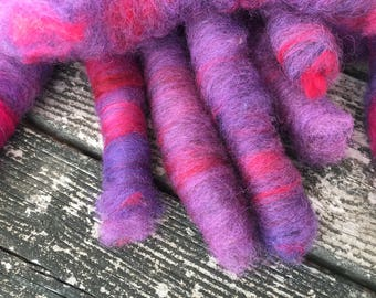 Mini rolags wool and silk for hand spinning or felting