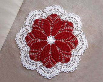 Red Flower Decor Crochet Lace Doily, Elegant Home Decor, Large Table Centerpiece, Red and White Flower, 12 Inch Doily