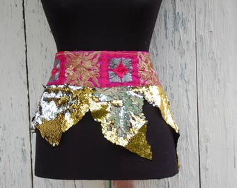 Sash, belt, gypsy belt, waist chincker, faerie punk, gypsy steampunk, etno, dance noire fusion, sequins, embroidery, shinny, wicca, women
