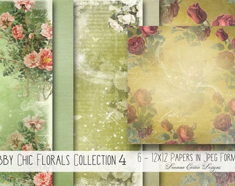 Foral papers, digital papers, digital backgrounds, shabby chic papers, wedding papers, wrapping paper, decoupage, scrapbooking kit, cu ok