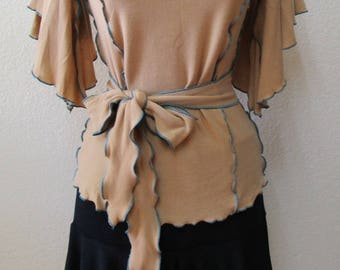 Camel color wide sleeves top with ruffled edging and optional belt plus made in USA(vn41)