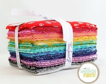 """True Colors - Fat Quarter Bundle - 20 - 18""""x21"""" Cuts - Tula Pink - Free Spirit Quilt Fabric"""