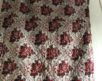 """Antique Fabric French Boutis Quilt/ 1800s Red Roses & Gray Vines Quilt Panel/Vintage Textile Decorative Antiques French Home Decor 40"""" x 80"""""""