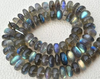 Brand New, AAA Quality Blue Flashy Labradorite Smooth Rondelles, Full 8 inch Strand, 10-8mm, Superb Quality. at Low Price