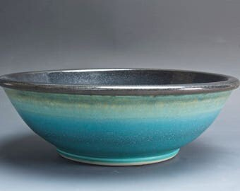 Handmade pottery serving bowl, spaghetti, salad serving bowl 60 oz. turquoise blue 4033