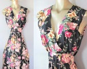 40% OFF SALE Vintage 1980's Victorian Rose Print Rayon Day Dress / Casual Summer Romantic Sleeveless Sundress / Size Small