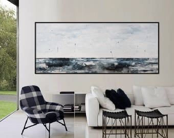 extra Large  seascape horizontal Painting white blue modern wall art 'catch the calm'