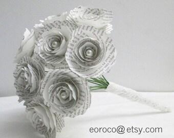 Book Paper Flower Bridal Bouquet,  Paper Wedding Bouquet, Wedding Toss Rehearsal Bouquet, Book Page Flowers, Eco Wedding Flowers