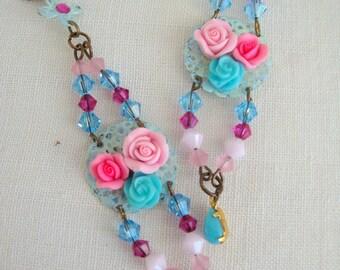 long earrings Crystal and porcelain trio