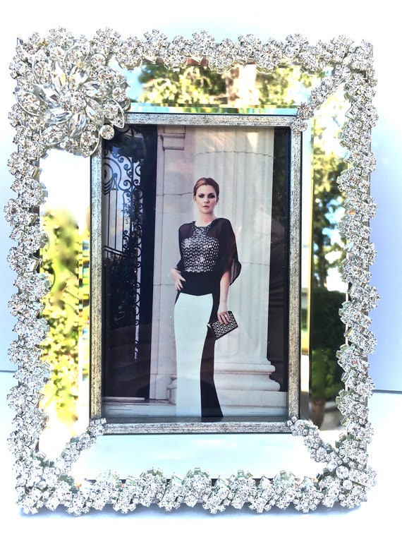 Rhinestone Photo Frame- Art Deco Frame- Unique Gifts- Wedding Gifts- Bridal Gifts -Picture Frame- Home Decor