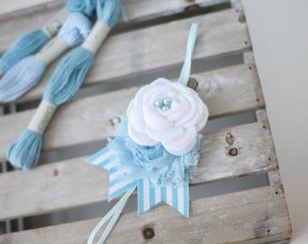 By the Sea - white and sky baby blue chiffon satin rose with ribbon headband bow