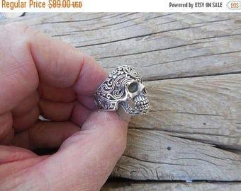 ON SALE Sugar skull ring handmade in sterling silver 925