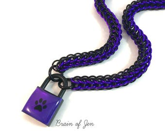Unisex BDSM Slave Collar Purple with Black Paw Print Locking Chainmail Choker Pup Kitten Sub