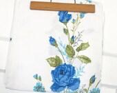 Vintage Tablecloth Blue Roses Flowers