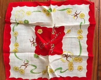 Vintage Brownies Hankie, Vintage Handkerchief, Vintage Red Hankie, Vintage Green Hankie, 1949 Brownies, Vintage Hankie, Choice Red Green