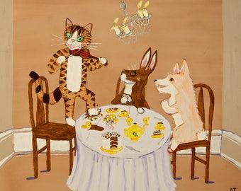 Tea Party With Louis Wain, Beatrix Potter, and Tasha Tudor Original Art Print
