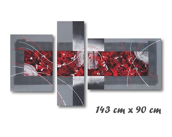 large Blackboard XXL red grey design canvas triptych contemporary modern
