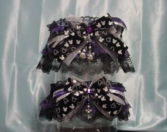 Disney Mickey & Minnie Mouse Black, Purple and Silver Wedding Garter Set