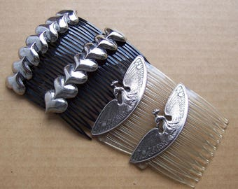 2 matched pair mid century hair combs hair accessories hair ornament decorative comb figural bird