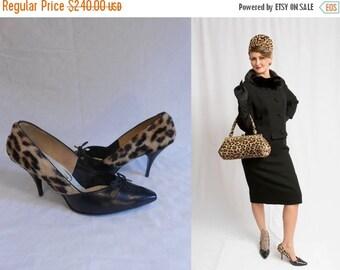 Anniversary Sale 35% Off The Seductress Mrs. Robinson - Vintage 1950s Leopard Faux Fur Pixie Stiletto High Heels - 9