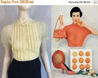 Anniversary Sale 35% Off Fresh Citrus Mornings - Vintage 1950s Lemon Nylon Sheer Braided Blouse Top - Small
