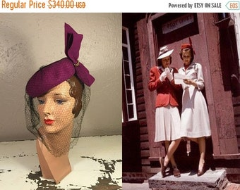 Anniversary Sale 35% Off News From the Front Lines - Vintage 1940s WW2 Magenta Pill Box Hat w/Large Bow Veil