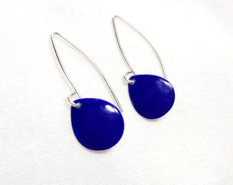 Enameled Small Silver Cobalt Blue Earrings
