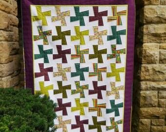 Handmade Lap Quilt, Modern Quilt, Teal Quilt, Green Quilt, Purple Quilt, Sofa Quilt