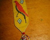 Vintage Beaded Bookmark Native American Look Beaded Bookmark Vintage Beadwork Bookmark Beaded Bird Bookmark Beadwork Jewelry Pendant 7 Inch