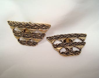 Vintage BLUETTE Made in France Antiqued Gold Shoe Clips.