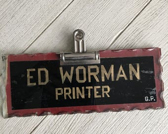 Printer Antique Sign Reverse Painted Glass