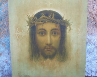 Vintage religious art Jesus Crown of Thorns Crucifixion Shroud stretched linen canvas 16 x 20
