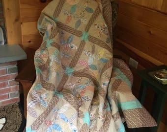Original 1930's appliqued blocks large sofa quilt