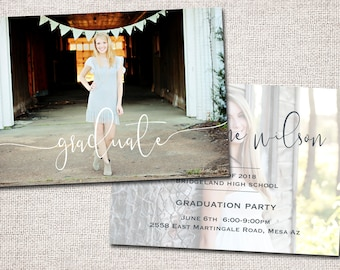 Graduation Announcement, Graduation Invitation, Photo Graduation Announcement, Graduation Party. Grad Party Invite: PRINTABLE (Amelia)
